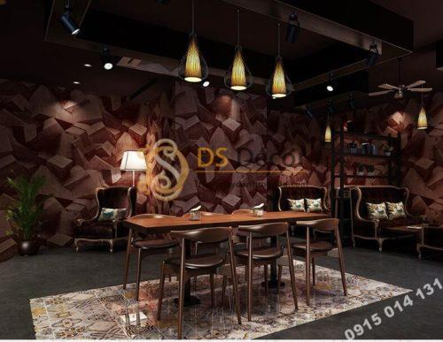 Giấy dán tường họa tiết khối đá 3 chiều 3D306 màu nâu đỏ quán cafe