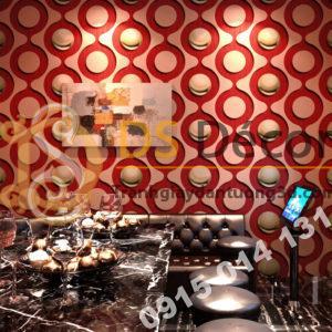 Giấy dán tường karaoke mắt xích tròn màu đỏ 3D309
