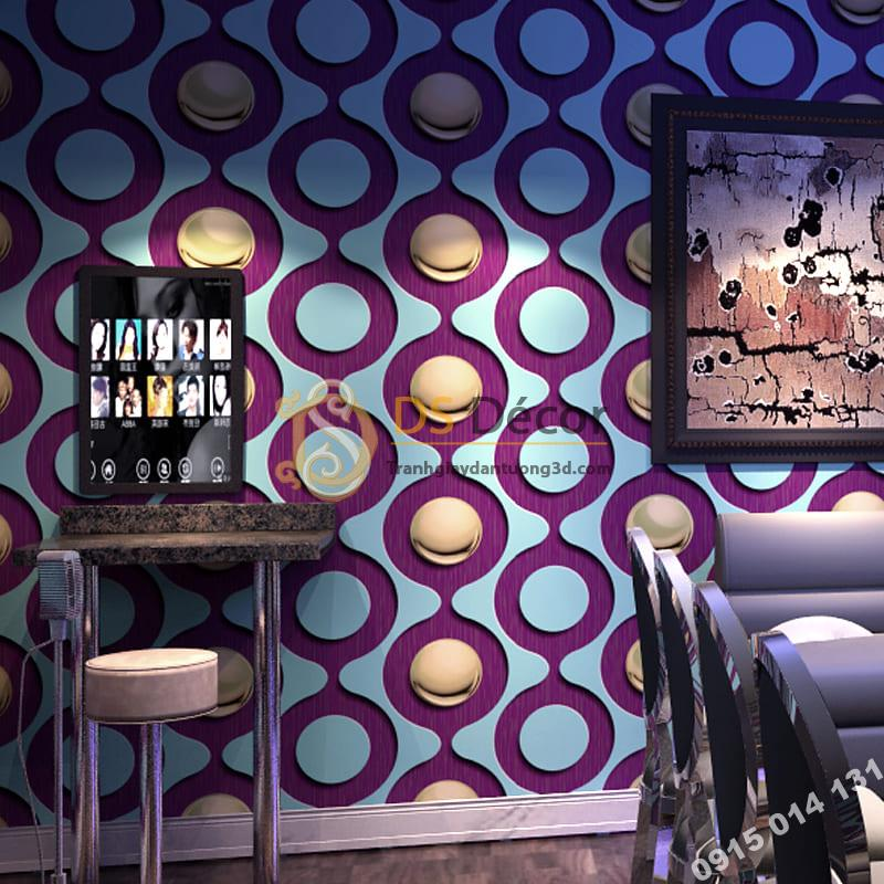 Giấy dán tường karaoke mắt xích tròn màu tím 3D309