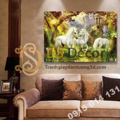 Tranh treo tường ngựa trắng mẫu A
