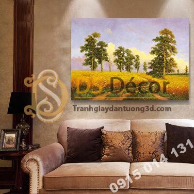 Tranh treo tường phong cảnh đồng cỏ vàng J