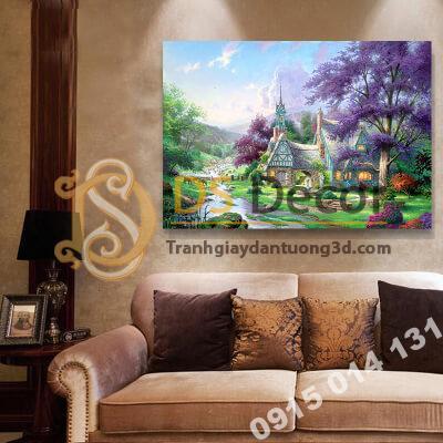 Tranh treo tường phong cảnh cây hoa tím Mẫu N