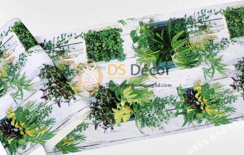 Bề mặt Giấy dán tường lá cây trên nền gỗ mục 3D311