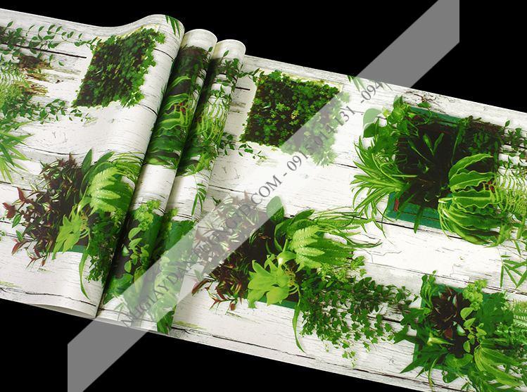 Bề mặt Giấy dán tường lá cây xanh gỗ mục HLD1172
