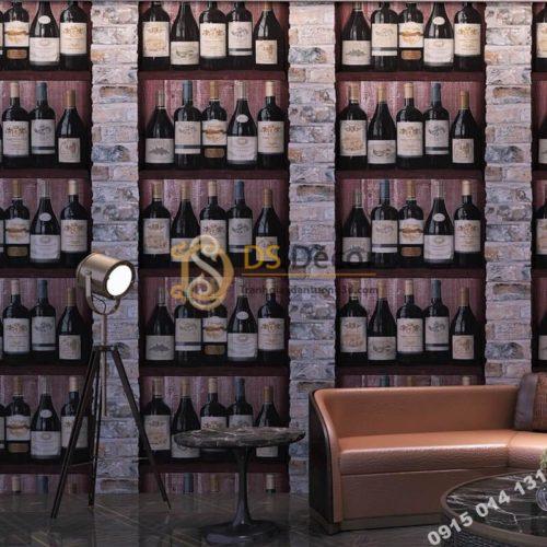 Giấy dán tường giả hầm rượu tây 3D310
