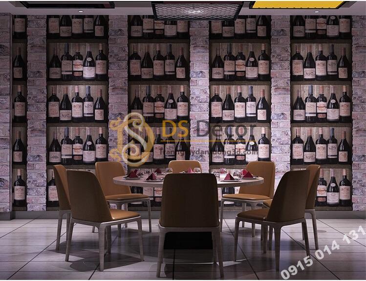 Giấy dán tường giả hầm rượu tây 3D310 dán quán ăn