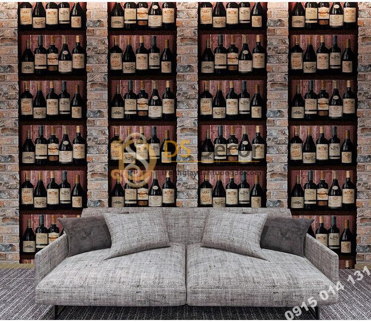Giấy dán tường giả hầm rượu tây 3D310 trang trí phòng khách