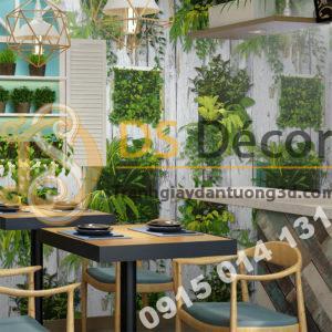 Giấy dán tường lá cây trên nền gỗ mục 3D311 quán cafe