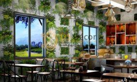 Giấy dán tường lá cây trên nền gỗ mục 3D311 quán trà sữa