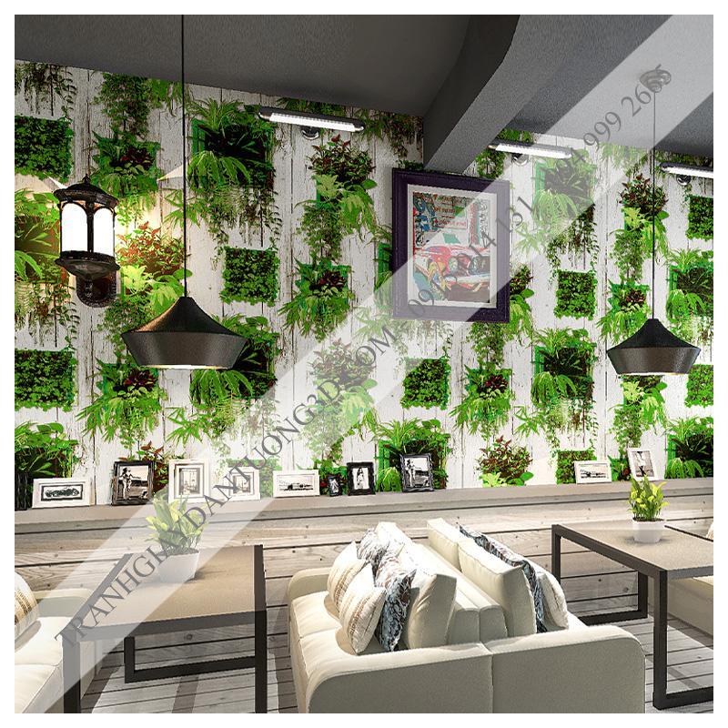 Giấy dán tường lá cây xanh gỗ mục HLD1172