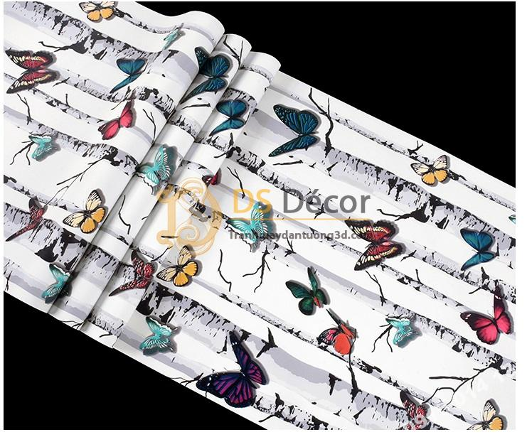 Bề mặt Giấy dán tường bướm đậu thân cây 3D314