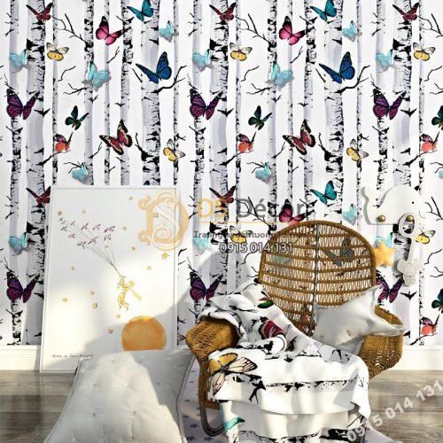 Giấy dán tường bướm đậu thân cây 3D314