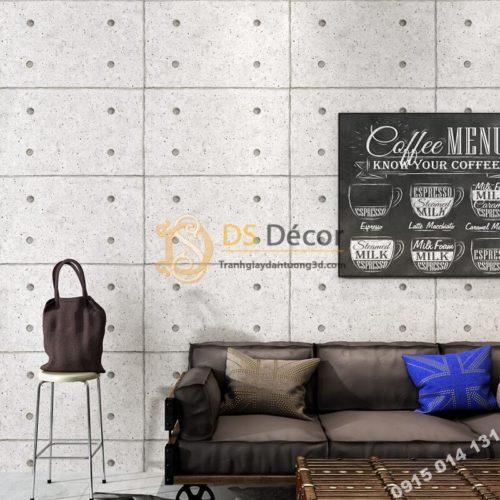 Giấy dán tường giả tấm xi măng retro 3D317 dán quán cafe