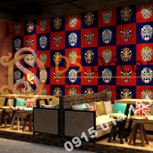 Giấy dán tường mặt nạ tuồng chèo 3D316 dán quán cafe