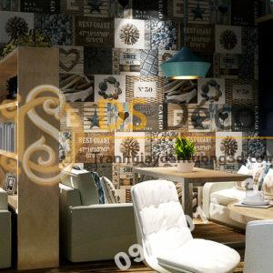 Giấy dán tường vintage retro quán cafe trà sữa 3D313