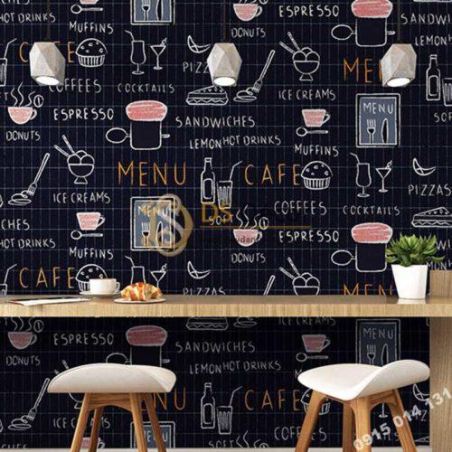 Giấy dán tường cafe trà sữa 3D319 màu đen
