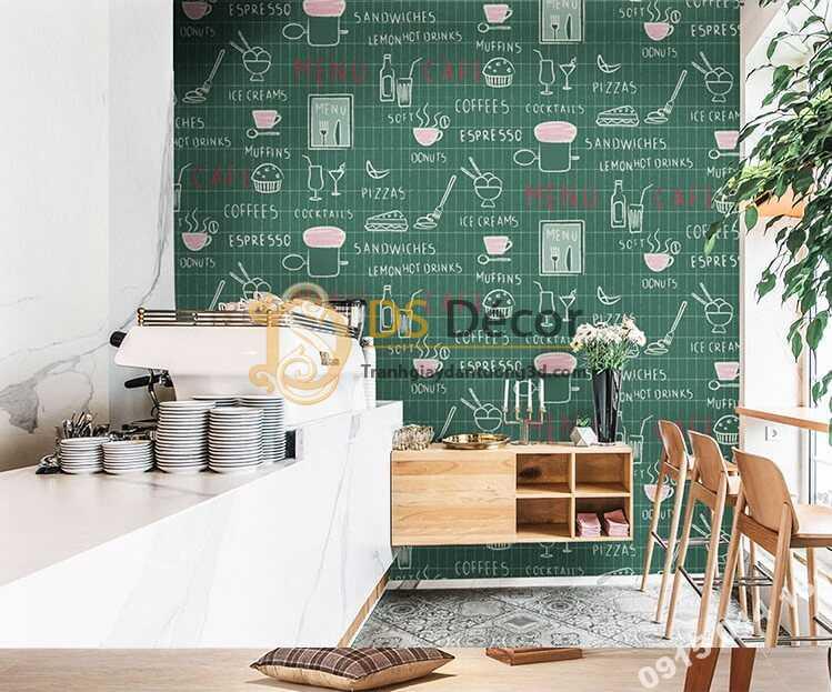 Giấy dán tường cafe trà sữa 3D319 màu xanh