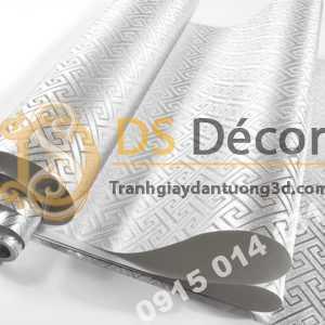Giấy dán tường phòng thờ móc vuông bạc 3D318