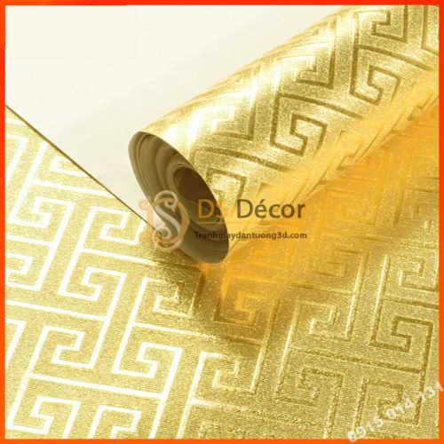 Giấy dán tường phòng thờ móc vuông vàng 3D318