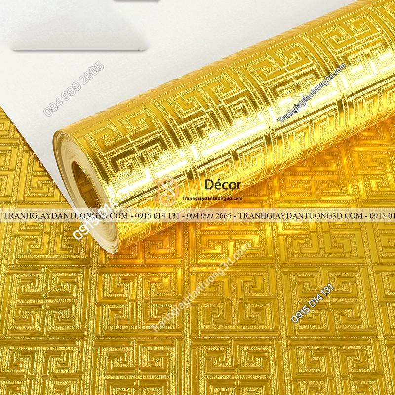 Giấy dán tường phòng thờ móc vuông vàng gân nổi 3D318