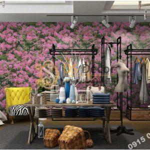 Giấy dán tương hoa osaka hồng 3D323 trang trí shop quần áo