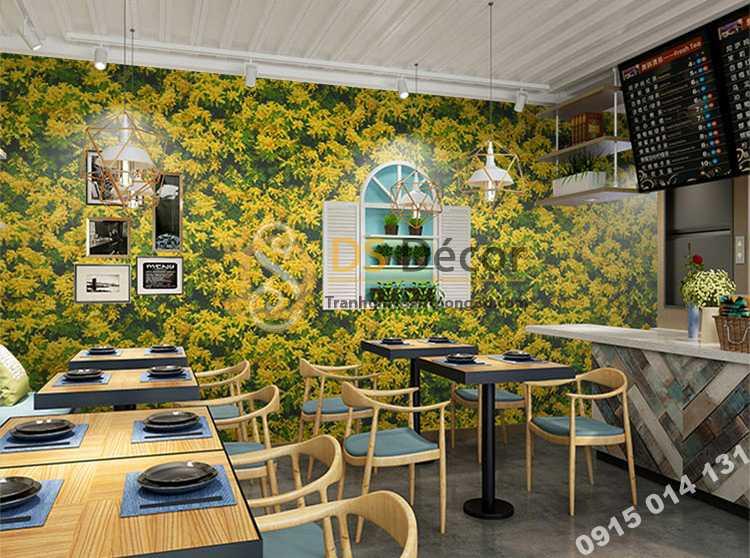 Giấy dán tương hoa osaka vàng 3D323 trang trí quán cafe