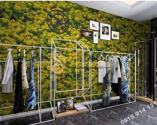 Giấy dán tương hoa osaka vàng 3D323 trang trí shop quần áo