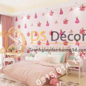 Giấy dán tường công chúa 3D322 phòng của bé màu hồng