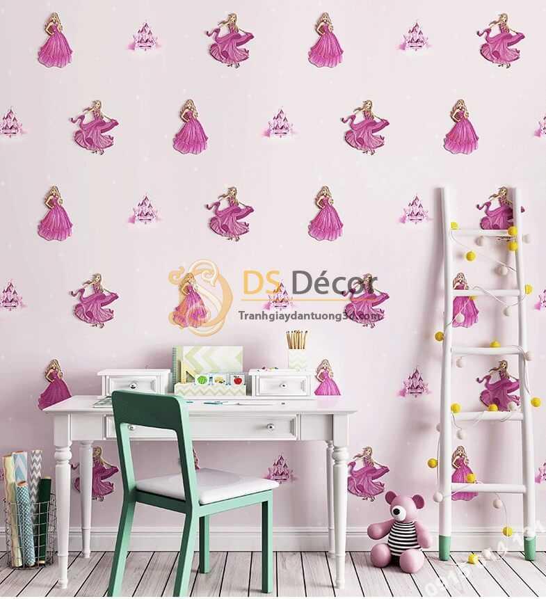 Giấy dán tường công chúa 3D322 phòng của bé màu tím