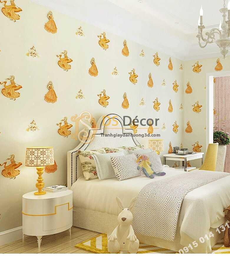 Giấy dán tường công chúa 3D322 phòng của bé màu vàng