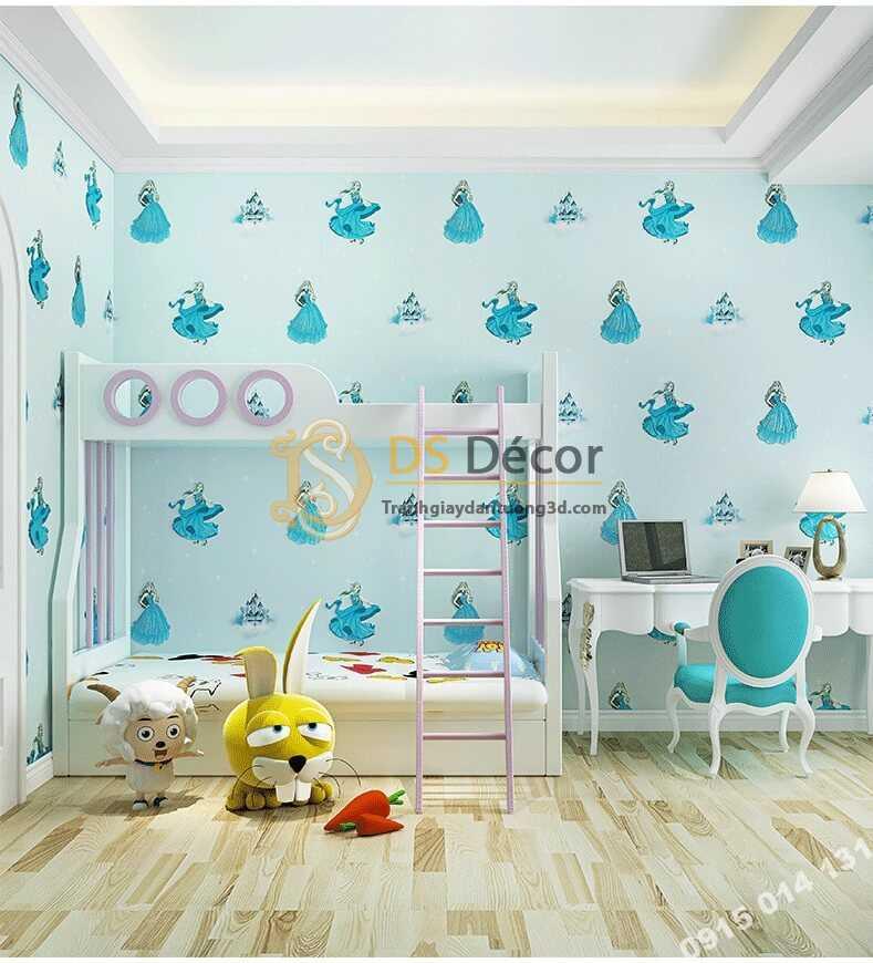 Giấy dán tường công chúa 3D322 phòng của bé màu xanh