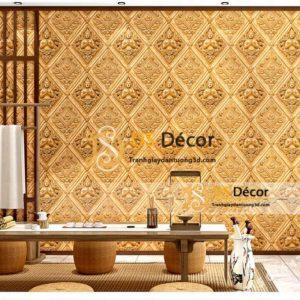 Giấy dán tường họa tiết phật giáo kiểu Thái Lan 3D326