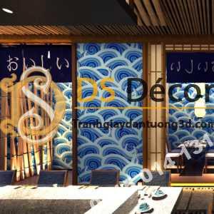 Giấy dán tường hoa tiết sóng biển xanh kiểu Nhật Bản 3D327