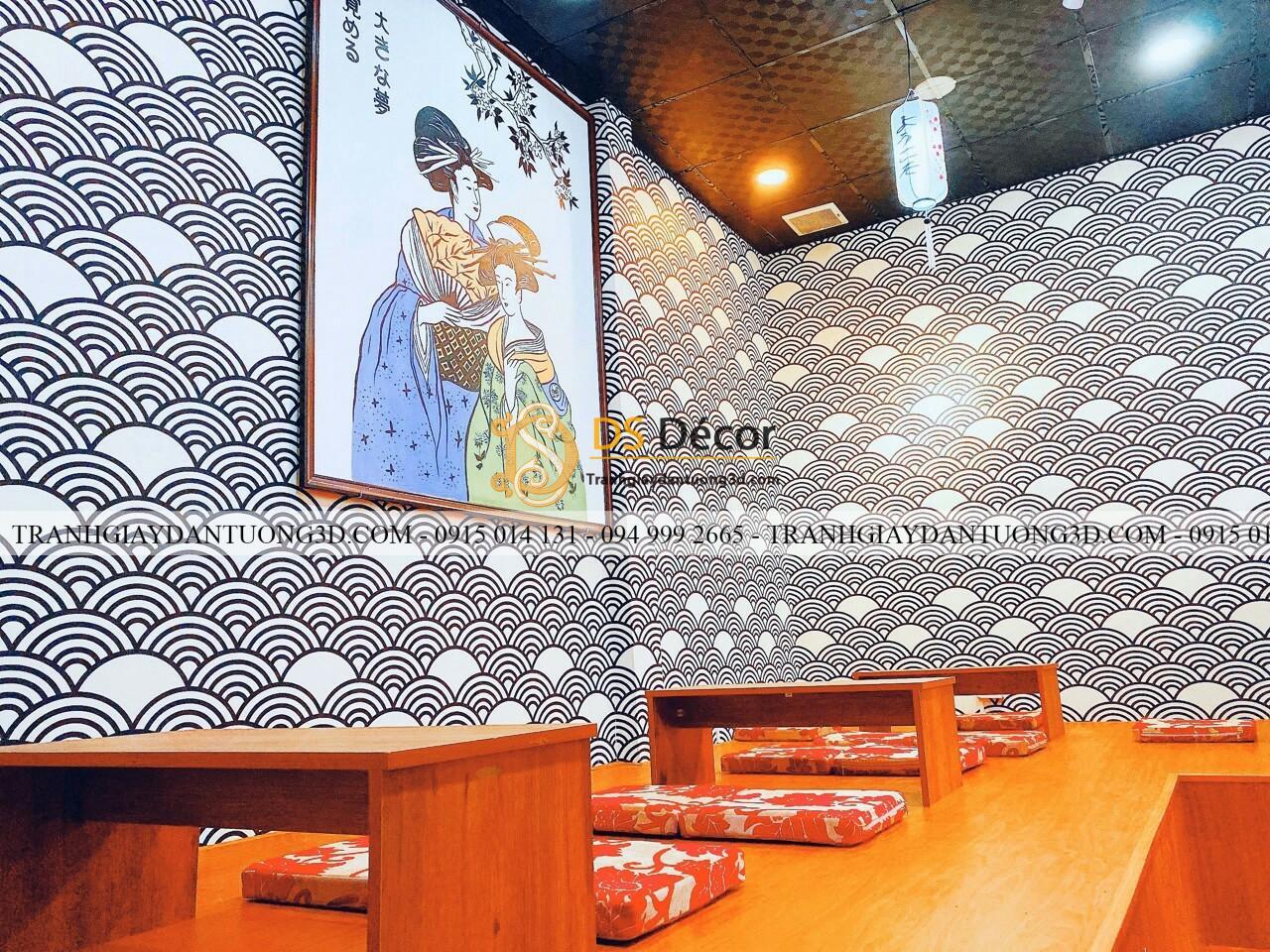 Thi công giấy dán tường Nhật Bản cho nhà hàng Nhật