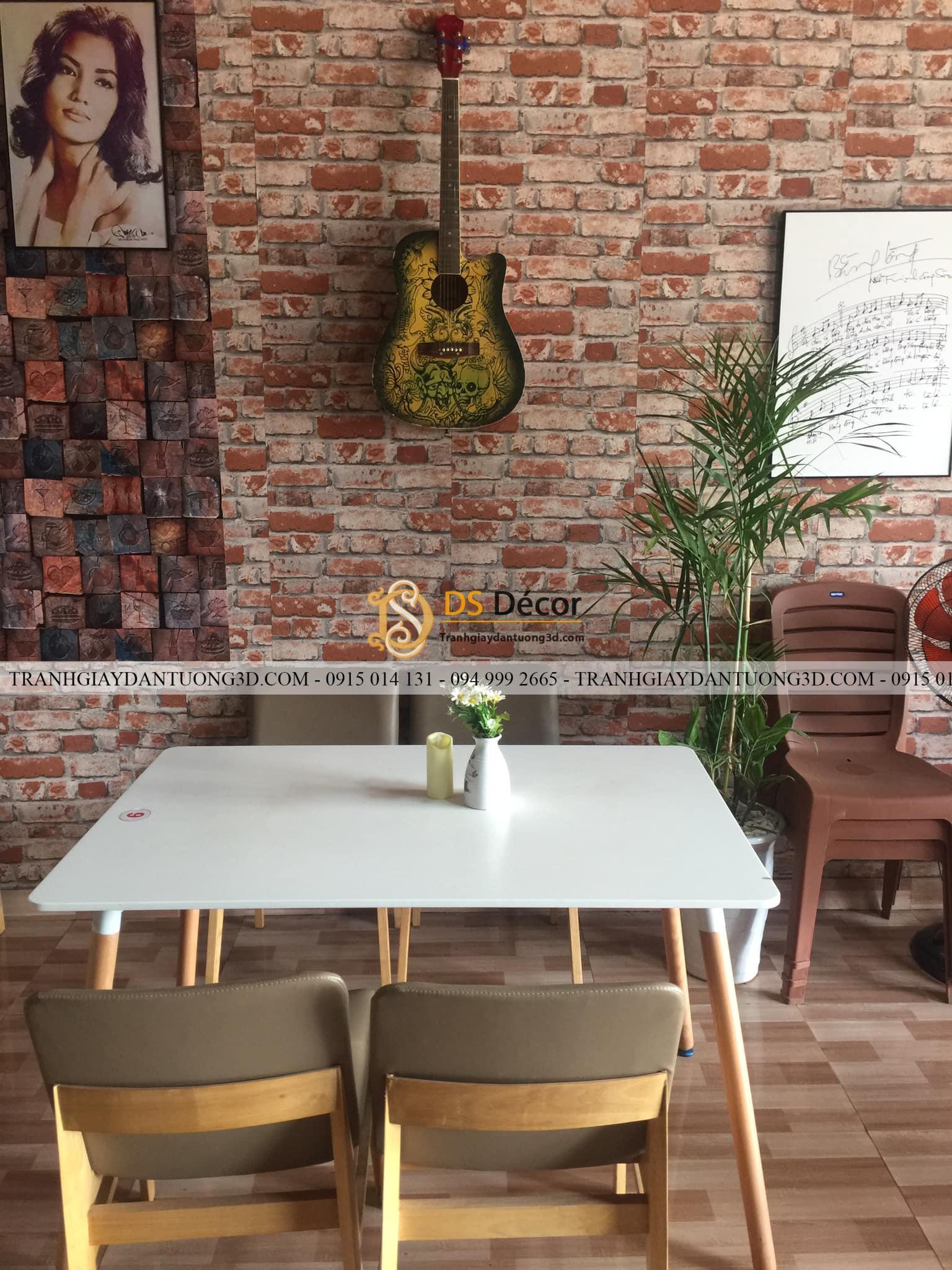 Giấy dán tường giả gạch 3D251 quán cafe nhạc Q classic
