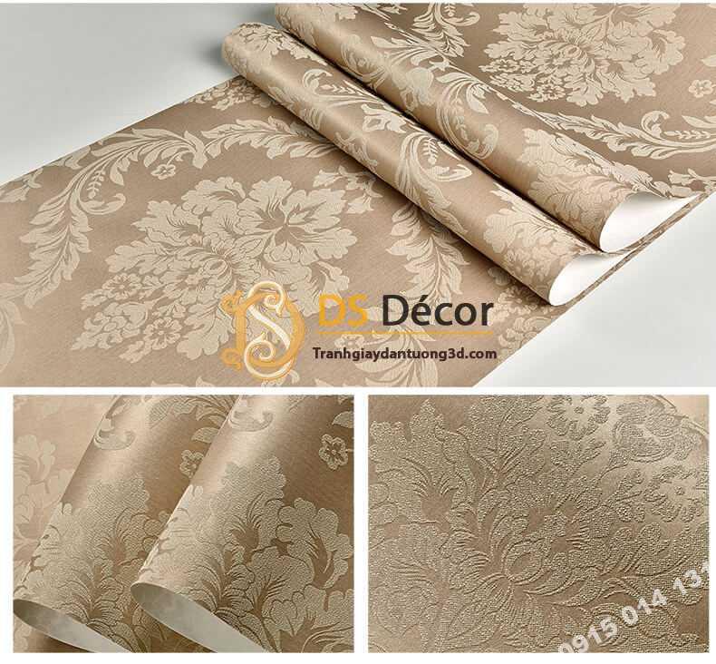 Bề mặt giấy dán tường cổ điển châu Âu 3D328 màu nâu