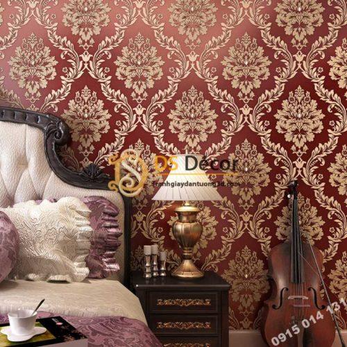 Giấy dán tường cổ điển châu Âu 3D328 màu đỏ