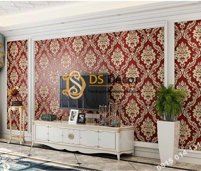 Giấy dán tường cổ điển châu Âu 3D328 màu đỏ phòng khách