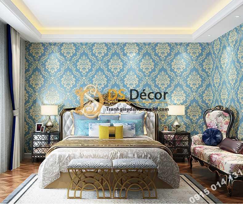 Giấy dán tường cổ điển châu Âu 3D328 màu xanh phòng ngủ