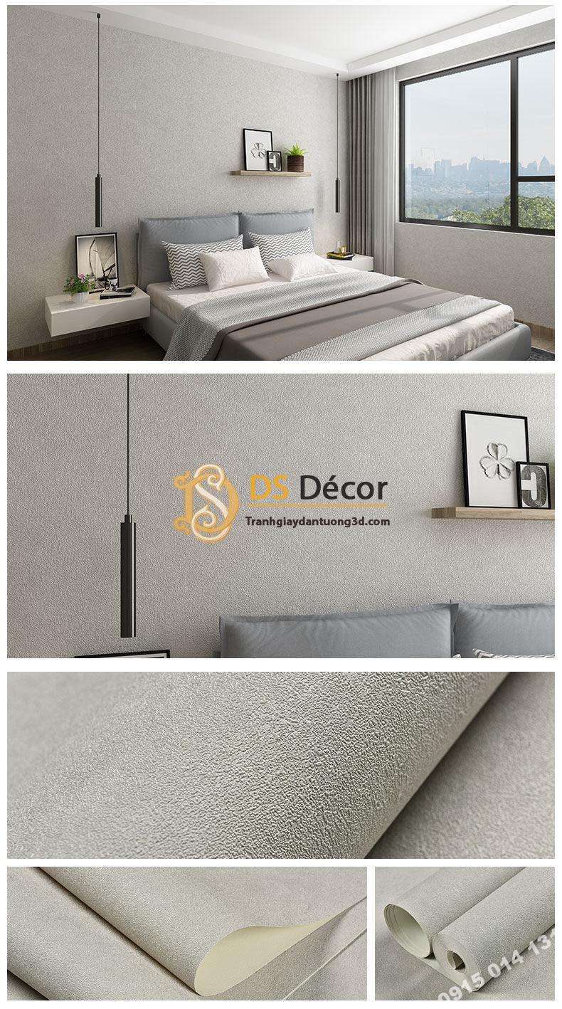 Giấy dán tường màu trắng xám PVC H7101 - 3D329