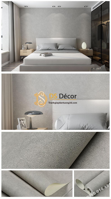 Giấy dán tường màu trắng xám PVC H7102 - 3D329