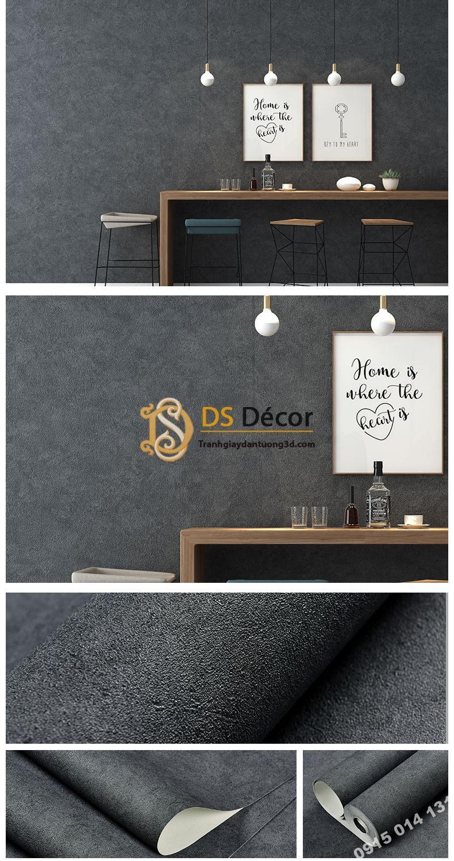 Giấy dán tường màu xám đen PVC H7109 - 3D329