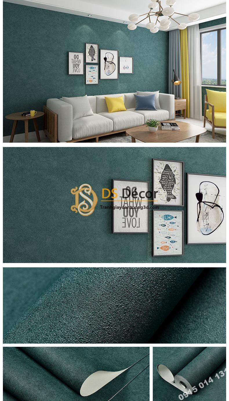 Giấy dán tường màu xanh rêu PVC H7107 - 3D329