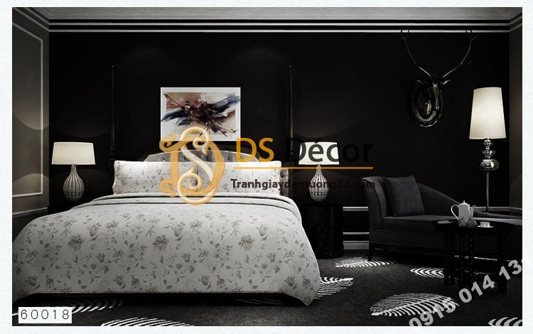 Giấy dán tường một màu trơn nhám PVC đen 60018 - 3D330 phòng ngủ