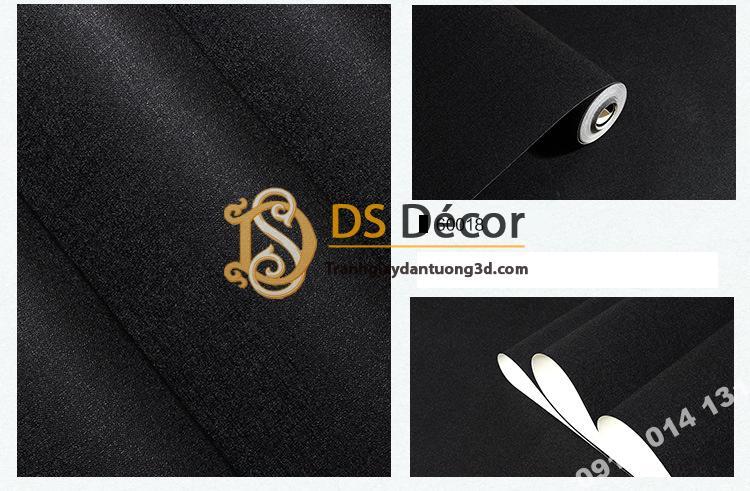 Giấy dán tường một màu trơn nhám PVC đen 60018 - 3D330