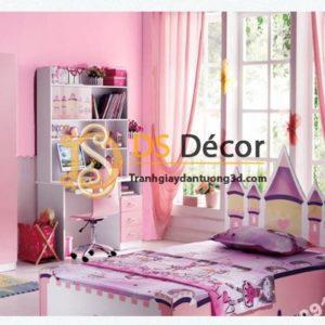 Giấy dán tường một màu trơn nhám PVC hồng đậm 60016 - 3D330 phòng ngủ cho bé