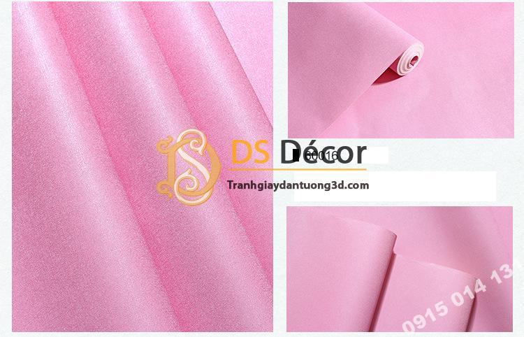 Giấy dán tường một màu trơn nhám PVC hồng đậm 60016 - 3D330