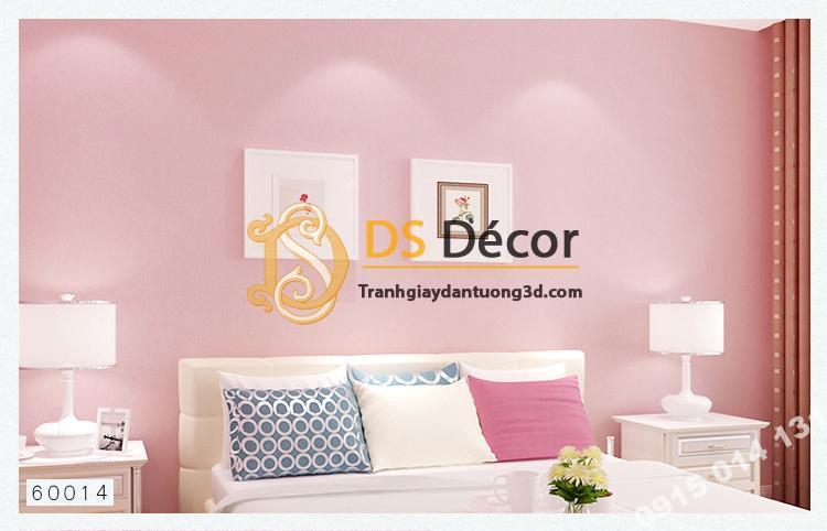 Giấy dán tường một màu trơn nhám PVC hồng nhạt 60014 - 3D330 phòng ngủ
