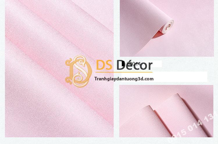 Giấy dán tường một màu trơn nhám PVC hồng nhạt 60014 - 3D330