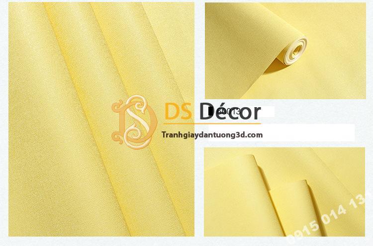Giấy dán tường một màu trơn nhám PVC vàng chanh 60013 - 3D330